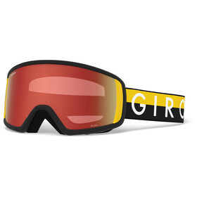 Giro Scan Lunettes de ski, black-yellow throwback w amber scarlet